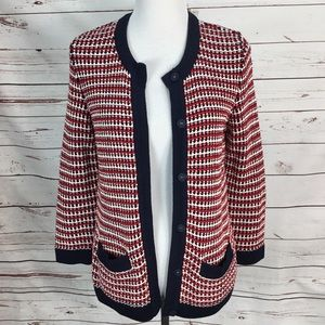 Talbots Sweater Cardigan Red, White, Blue Small